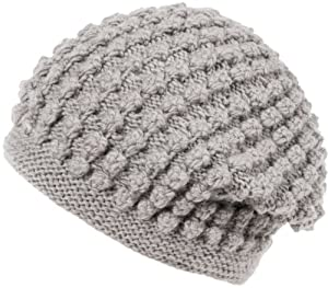 Nirvanna Designs CH607 Popcorn Slouch Hat with Fleece, Ash