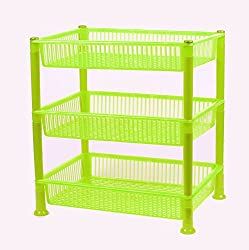 NOVICZ 3 Layer Kitchen Rack Stand Fruits Vegetable Rack Storage Household Office Rack Storage Stand - Yellow