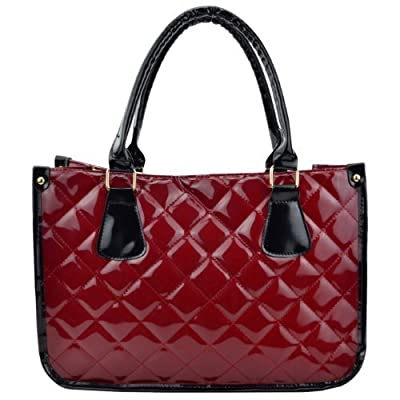 Quilted Faux Leather Double Handled Patent Ladies Tote Grab Bag - satchels