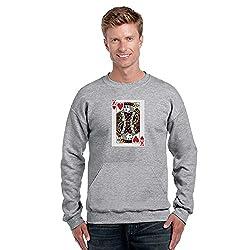 TYYC King of Hearts Printed Round Neck Mens Sweatshirt Grey_M