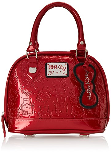 Hello-Kitty-Pearlized-Red-Embossed-Mini-Dome-Shoulder-Bag