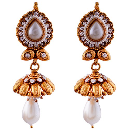 Ethnic - Antique, Dangle And Drop Pearl Jhumki (white)