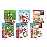 Three 100-Piece Holiday Jigsaw Puzzle Set - 3 Seperate Christmas Themed Puzzles - Snowman, Santa, Penguin, Xmas Tree Jigsaw Puzzles for Kids