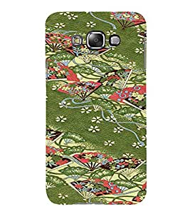 PrintVisa Chinese Hand Fan Pattern 3D Hard Polycarbonate Designer Back Case Cover for Samsung Galaxy E7