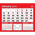 premium quality large boldtype black and red calendar 2014 three 3 months to view