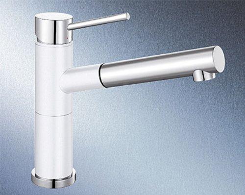 Blanco Alta-S Compact Silgranitweiß Hochdruck Wasserhahn Spültisch-Armatur Spüle