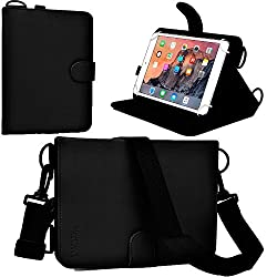 Cooper Cases(TM) Magic Carry Lenovo LePad S2007, Tab 2 A7-10/A7-30/A8-50 Tablet Folio Case w/ Shoulder Strap in Black (PU Cover, Built-in Viewing Stand, Elastic Hand-Strap and Stylus Holder)