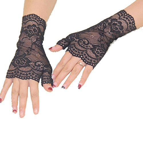Aurora Bridal® Women's Short Lace Half Finger Bridal Gloves Black