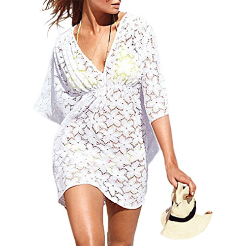 9d520df601 MG Collection Fashion Floral White Lace V-Neck Beach Swimsuit Cover Up