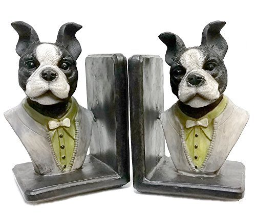 Bellaa Decorative Bookends English Gentleman Dog Book Ends for Professional Gifts