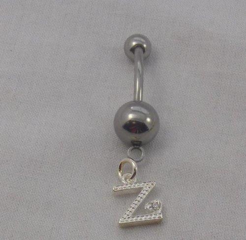 Charming Letters- Belly Ring Z W/Cz's IAAZ-BR (T52)
