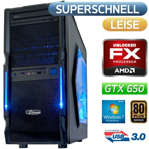 Dark Count| USB 3.0, Win7 Prof, STROM SPAR Office / Multimedia / Gaming PC COMPUTER | BeQuiet 400W 80PLUS Bronze ,AMD FX-6300(6x3.5GHz),1500GB SATA3 Festplatte, 8GB DDR3 PC1600, MSI 970A-G43 Mainboard, Nvidia Grafik GTX650 mit HDMI/DVI DX11, DVD-Brenner, 5.1 Sound, GigabitLAN