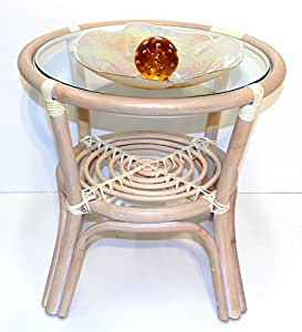 Rich coffee round small table w glass top for Cream glass coffee table