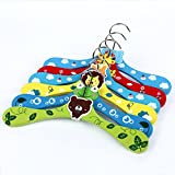 Homeout 6pack Cute Baby Kids Pet Wooden Clothes Hangers Colorful (Packed 6 Different Colors)