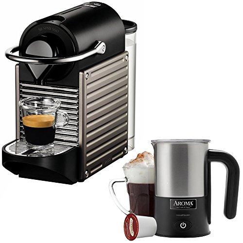 Nespresso Pixie Espresso Maker - Electric Titan (C60-US-TI-NE) with Aroma Stainless Steel One Serving Milk Frother (Aroma Electric Espresso Maker compare prices)