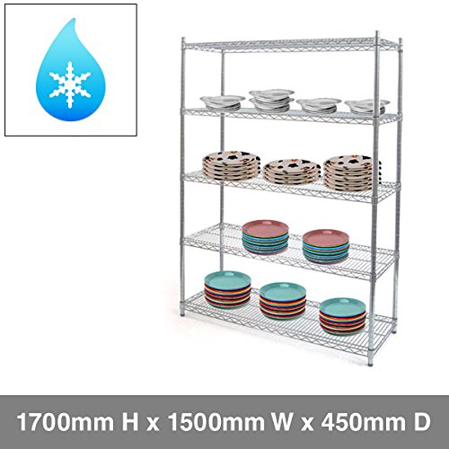 5 Tier Hygienic Chrome Wire Heavy Duty Shelving - 1500mm