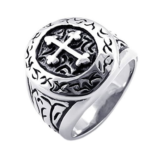 KONOV Classic Vintage Cross Mens Ring, Stainless Steel Band, Silver, Size 11 (Stainless Steel Rings For Men compare prices)