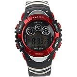 Foxnovo GLEICHERMAßEN A5106 50M wasserdicht Studenten Sport LED Digital Armbanduhr mit Datum /Alarm Stoppuhr /LED Licht (rot)