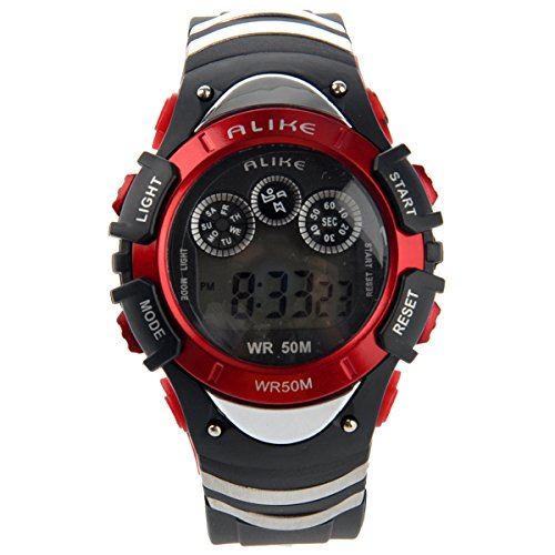Foxnovo Alike A5106 50M Waterproof Students Sport Led Digital Wrist Watch With Date /Alarm /Stopwatch /Led Light (Red)