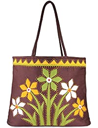 Women Cottage Brown Cotton Flower Bunch Patch Work Bag