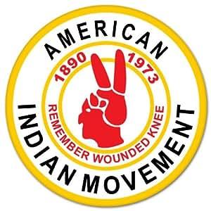 """Amazon.com: American Indian Movement AIM bumper sticker 4"""" x 4"""