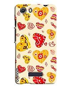 Omnam Heart Printed Pattern Printed Designer Back Cover Case For Micromax Unite 3