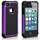 Pasonomi iPhone 4 Case-Premium Heavy Duty Hybrid Shockproof Water Dust Resistant Armor Cover for Apple iPhone 4S/4 (Purple)
