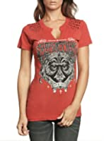 Buy Affliction Women Live Fast Western Tee Short Slvs Fleur Notch Neck in Red Wash by Affliction