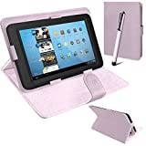 Connect Zone® Universal PU Leather Stand Case Cover For Various Android Tablet PC + Tall Touch Screen Stylus (White)