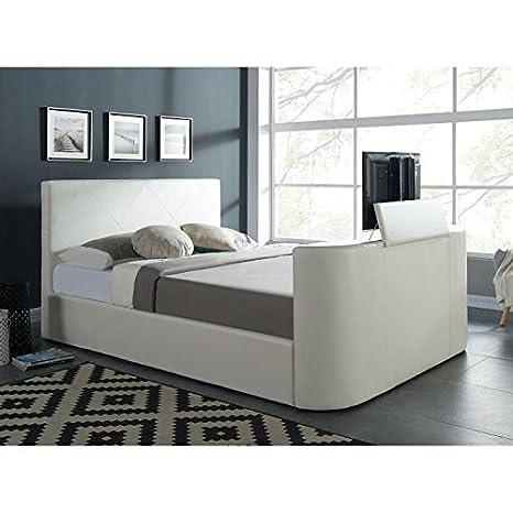 Hollywood cama TV 160x 200cm + somier-color blanco