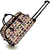 KCMODE Womens Beige Cream Black Multi Colour Butterfly Print Travel Bag Holdall Suitcase Trolley with Wheels