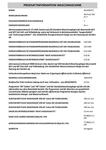 Bauknecht-WA-PLUS-744-A-Waschmaschine-Frontlader-A-B-1400-UpM-7-kg-Wei-Smart-Select-Jeans-Programm
