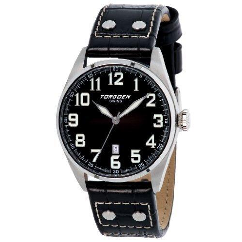 Torgoen T28101 Gents Watch Quartz Analogue Black Dial Black Leather Strap