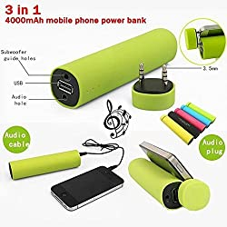AEMA (TM) 3 in 1 Power Bank with Speaker Mobile Stand 4000MAH Power Bank with In-Built 3W Mini bluetooth Speakers and Stand Holder Charger External Battery Chargers for iPhone 4 4s 5 5s 5c, Samsung Galaxy I, II, III, IV V, Samsung Note 1, 2, 3, HTC One, M8 and other Android Smartphones (COLOUR MAY VARY)