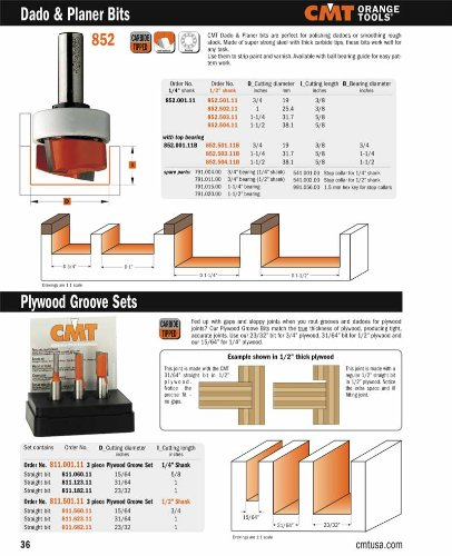CMT 811.501.11 3-Piece Plywood Groove 1/2-Inch Shank Router Bit Set