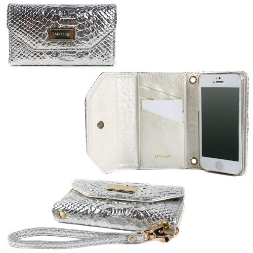 Great Sale JAVOedge Croc Clutch Wallet Case with Wristlet for the Apple iPhone 5s, iPhone 5 (Silver)