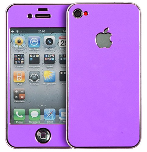 Apple Iphone 4/4S Aluminium Protective Sticker Skin Full Body Matte (Included Anti Finger Anti Glare Screen Protector Guard Film - 2 Pack) For Luxury Looks Diamond Cutting (Violet)