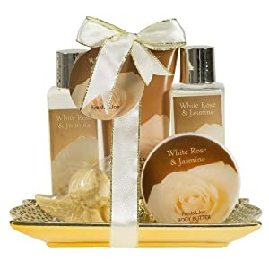 White Rose Jasmine Gold Tray Bath Gift Set by Freida & Joe