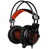 Sades AW10 USB Wired Gaming Headset With LED Light 3.5mm Stereo Sound Over-ear Headphone(Black)