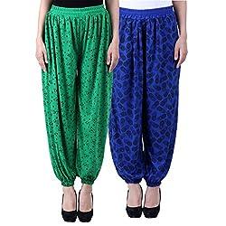 NumBrave Printed Viscose Green & Blue Harem Pants (Pack of 2)