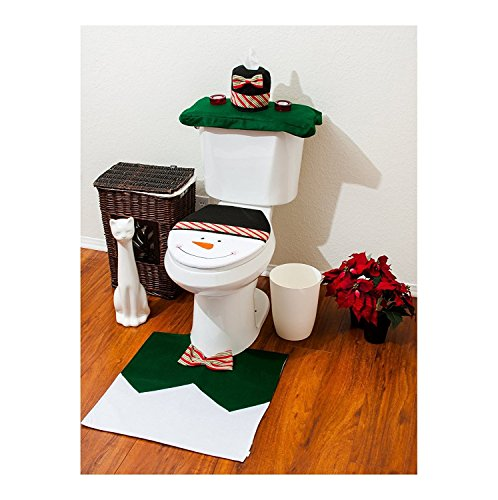 Mini-Gift Santa Toilet Seat Cover and Rug Set Christmas Party Decoration (One Size, Green)
