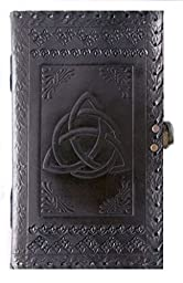 QualityArt Handmade Leather Journal Leather Notebook Triquetra Knot Diary Sketchbook Travel Blank Book 9X5 Inches Black