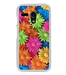 Multicolour Flower Pattern 2D Hard Polycarbonate Designer Back Case Cover for Motorola Moto G :: Motorola Moto G (1St Gen)