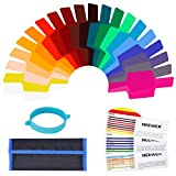 Neewer Universal Camera Flash Gels Transparent Color Correction Balance Lighting Filter Kit with Attachment Band for Photo Studio Strobe Flash Light (20 Pieces)