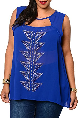 DHStyles Women's Plus Size Trendy Sexy Sheer Studded Tribal Print Top