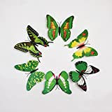 Butterfly Wall Stickers - Multi-colored 6 Pcs Large 3D PVC Magnet Butterfly Sticker Art Design Decorative Removable Wall Sticker For Home Decor, Living Room, Bedroom, Wall Decals & Stickers & Fridge Magnet By KARP - Green Color