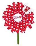 VW Beetle Flower - Red White Polka Dot Peace and Love Daisy