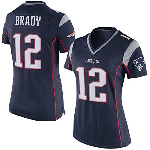Generic 12 Brady Womens New England Unsigned Custom Patriots Football Jerseys (Navy, XXL) (Custom Football Jersey compare prices)