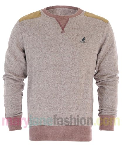 Mens Kangol Brand Textured Marl Suede Elbow Patch Sweatshirt Jumper S Wine