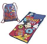 2pc Disney Mickey Mouse Sleeping Bag Wacky is Wonderful Sling Bag Slumber Roll Set